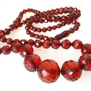 Antique red cherry Amber Bakelite necklace